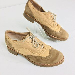 Sperry Leather Beige Saddle Shoes Loafers Sz 8